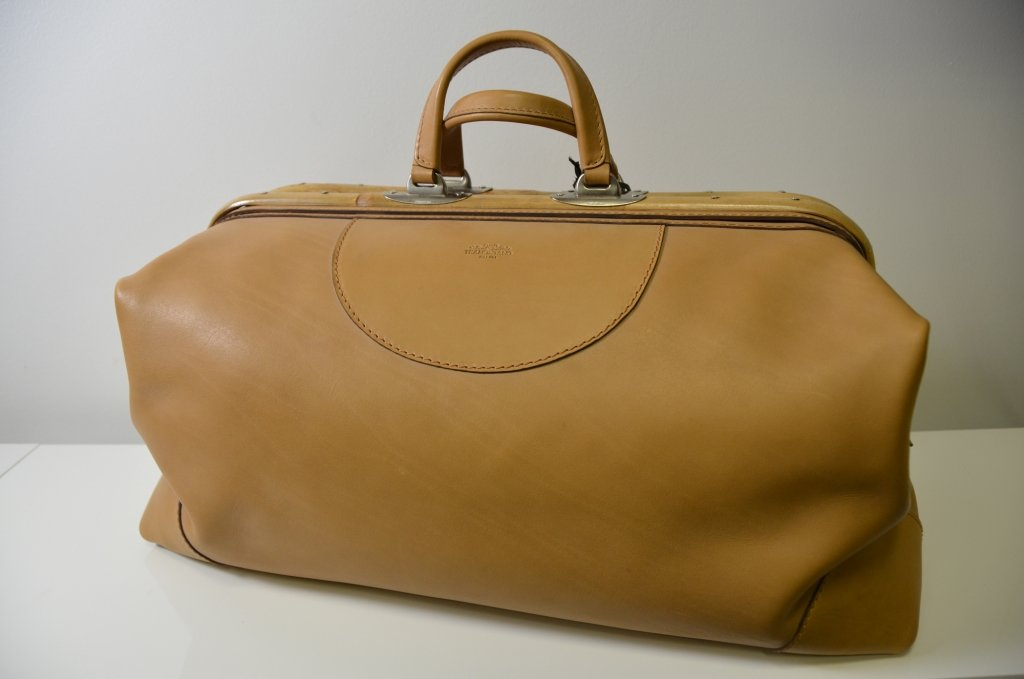 Tramontano Napoli Bamboo Travel Duffle Bag All in Genuine Calf Leather Bag 100% Made in Italy