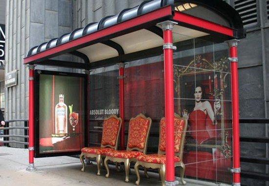 Наружная реклама водки Абсолют автобусная остановка Absolut Bloody