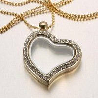 10 piece 25mm Heart Floating Charms Locket Pendant Necklace manufacturer Round Magnetic Glass Floating Charm Locket Jpg 200x200