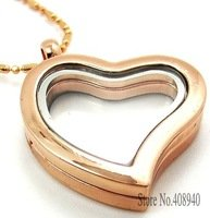 5PCS 30mm Rose Gold Heart magnetic glass floating charm locket Zinc Alloy Free shipping chains included Jpg 200x200