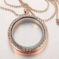 30mm rose gold plated Round magnetic glass floating charm locket Zinc Alloy Rhinestone Round Memory Glass Jpg 200x200