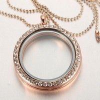 30mm rose gold plated Round magnetic glass floating charm locket Zinc Alloy Rhinestone Round Memory Glass Jpg 200x200