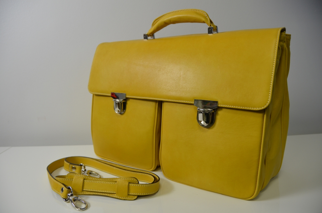 Two Front Pocket Genuine Leather Bag from LA RANCIA VALIGERIA 100% Made in Italy