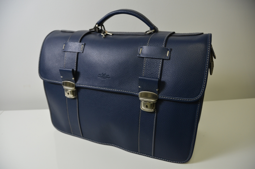 Tramontano Napoli Midnight Blue Leather Bag 100% Made in Italy