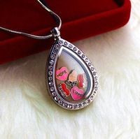 water drop floating locket with CZ stones glass locket living locket memory locket 10pcs Lot free Jpg 200x200