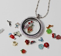 30MM round locket with CZ stones floating locket glass locket living locket memory locket 10pcs Lot Jpg 200x200
