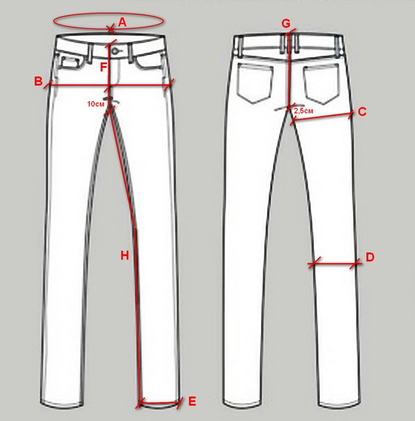 Jeans measuring guide